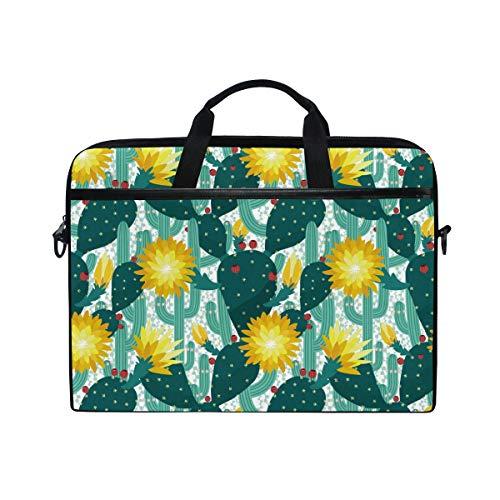 Tropische Beeren (Ahomy 14 Zoll Laptop-Tasche, Tropische Kakteen blühende Äste Beeren Prickles Canvas Stoff Laptop Tasche Bussiness Handtasche mit Schultergurt für Damen und Herren)