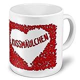 XXL Riesen-Tasse mit Namen Kussmäulchen - Motiv Rosenherz - Namenstasse, Kaffeebecher, Becher, Mug