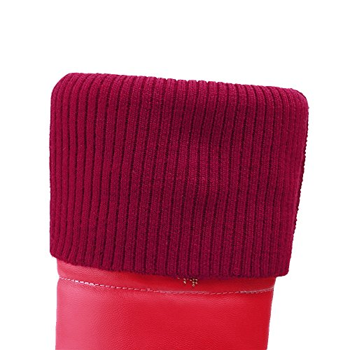 AgooLar Femme Tire à Talon Correct Matière Souple Couleur Unie Haut Élevé Bottes Rouge