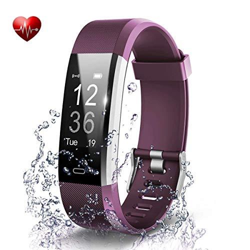 Antimi Fitness Armband, Wasserdicht IP67 Fitness Tracker, Pulsuhren, Schrittzähler, Kamerasteuerung, Vibrationsalarm Anruf SMS Whatsapp Beachten kompatibel mit iPhone Android Handy (Violett)