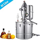 HUKOER 20L / 4.4Gal Attrezzatura da Birra, Kit di fermentazione per distillatore di Vino, Kit da Cucina per distillatore di Alcol in Acciaio Inox 304, Kit di Cottura di Rugiada Puro con termometro