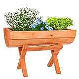 Holz Pflanztrog mit Ständer - Blumentopf Pflanzkasten Blumenkübel