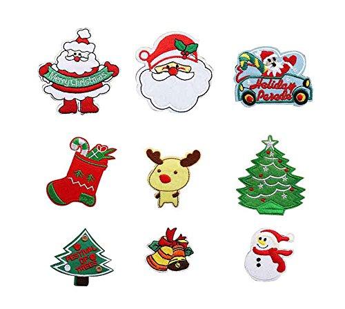24station Juego 9 Parches navideños decoración navideña