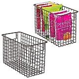 mDesign Juego de 2 cestas de metal multiusos fabricadas con alambre metálico - Organizador de cocina y despensa versátil - Cesta organizadora compacta y universal con asas - color bronce