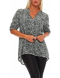 94c26579c44b Malito Damen Bluse mit Print   Tunika mit ¾ Armen   Blusenshirt auch  Langarm tragbar
