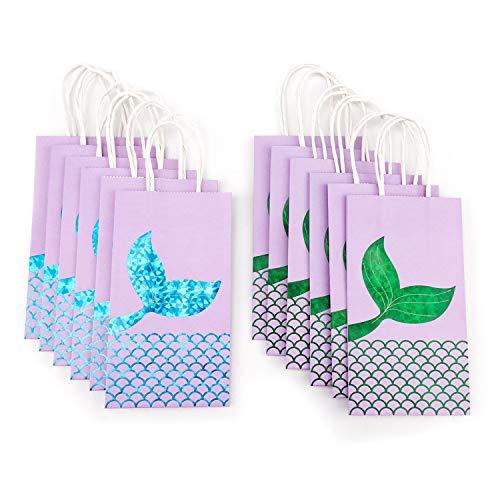 Savita Mermaid Geschenk-Taschen-Set von 12, Mermaid Party Supplies begünstigt Goodie Bag Glitter, Geschenk-Treat-Bags für Frauen und Mädchen