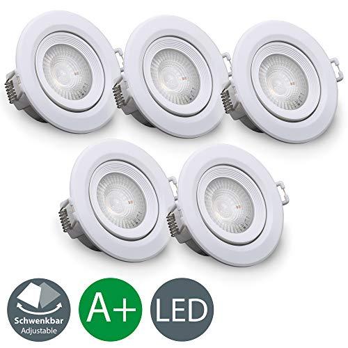 hwenkbar Inkl. 5 X 4W LED-Modul 350lm 3000K warmweiß IP20 LED Einbaustrahler | weiß ()