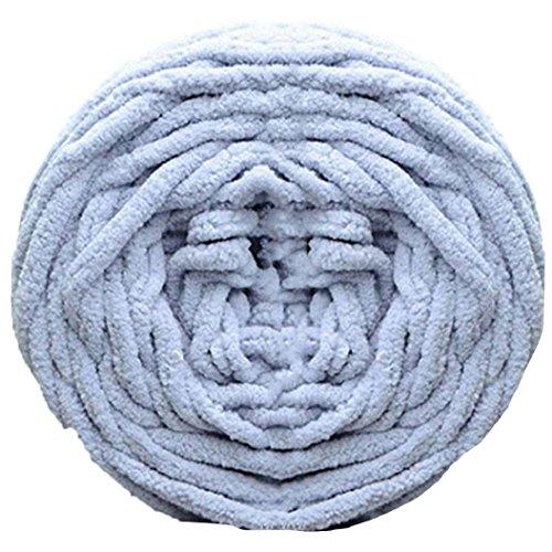 Weiches, dickes Strickgarn, zum Stricken von Schals, Pullis, Handtüchern, Polyester, hellgrau, 100g -