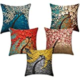 CIDIZY Jute Tree Floral Print Cushion Cover (Multicolour, 16x16 inches) - Set of 5