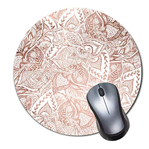 Gaming Mauspad rutschfest Gummi Mauspad Rund Mauspad für Computer Laptop Mousepad Chic handgezeichnet Rose Gold Floral Mandala Muster