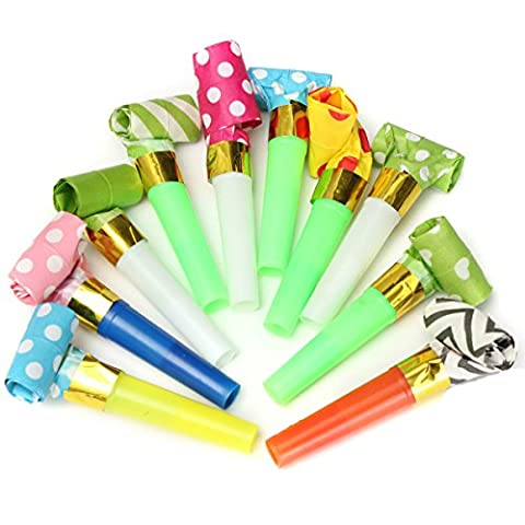 Yalulu 50Pcs Party Blowouts Blow outs, Dots Whistle Blowing Dragon Funny Childrens Kids Birthday Party Supplies Blowout Baby Birthday Accessory