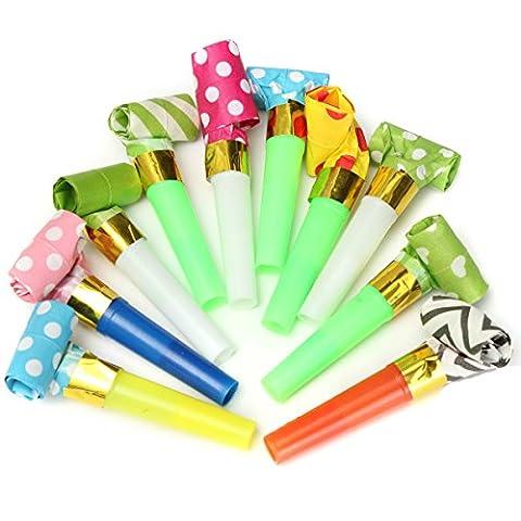 Yalulu 50pcs Fête d'anniversaire Fournitures Sifflet Blowing en plastique jouet