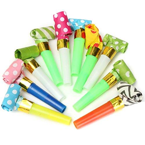 Yalulu 30 Stück Partytröten Luftrüssel, Farbig gemischt, Party Spaß Scherzartikel Party Tröte Tröten Zubehör Spaß