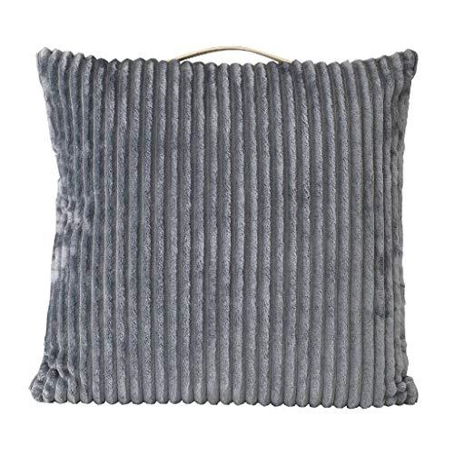 Time Concept Enrich Kord-Kissen mit Stoff-Griff - Überwurf Couch-Kissen, Dekokissen, Sofa Kopfstütze, Home Decor Grey - 24