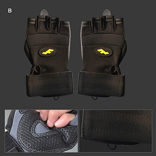 Men & Women Grippy Yoga Gloves, Non-Slip Fingerless Design in Multiple Colors Cross Training Gloves Large B