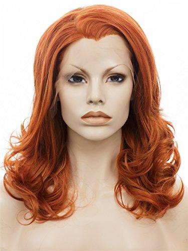 IMSTYLE femme roux perruque lace frontal synthétique haut densité résistant à la chialeur court ondulé