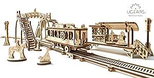 UGEARS Tranvía con rieles Mecánico 3D Rompecabezas de Madera Kit de Construcción Sin Pegamento DIY