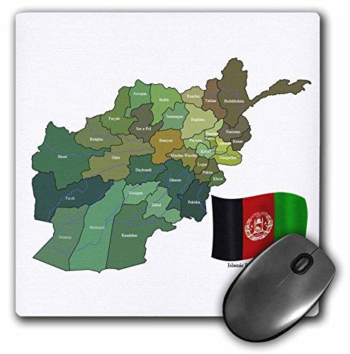 3drose 20,3x 20,3x 0,6cm Maus Pad, die Karte und Flagge der Islamischen Republik Afghanistan mit allen die Provinzen gekennzeichnet (MP _ 99098_ 1) (Geschenk-karte Benutzerdefinierte)
