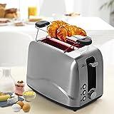 BESTEK Edelstahl Toaster mit Brötchenaufsatz, 7 Bräunungsstufen und 2 Brotscheiben, 850 W - 7