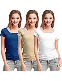 Fashion Line Premium Quality Stylish Printed Round Neck T Shirts For Women _Color : Blue,Beige and White _Material : Cotton (Pack of 3 )