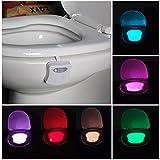 Toilette WC Nachtlicht Led Lampe WC-Beleuchtung Batteriebetriebene Badezimmer Motion Sensor Beleuchtung Toilettenlicht Badezimmer Licht Batterie 8 Farben Wechselnde