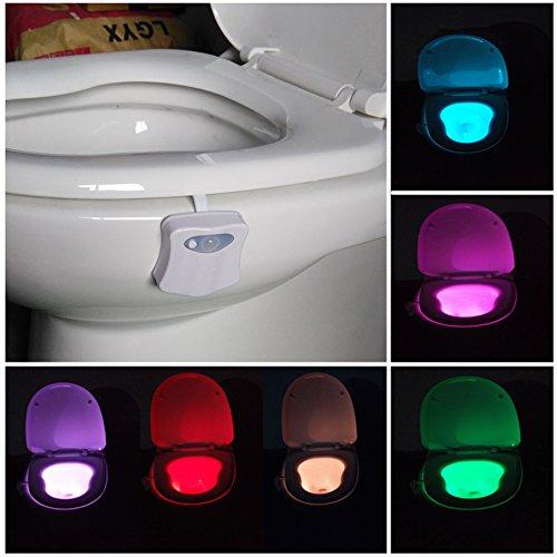 Toilette WC Nachtlicht Led Lampe WC-Beleuchtung Batteriebetriebene Badezimmer Motion Sensor Beleuchtung Toilettenlicht Badezimmer Licht Batterie 8 Farben Wechselnde Motion Licht