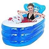 Bañera inflable Bañera para adultos Bañera plegable Botella de baño Barril de baño de plástico (azul)