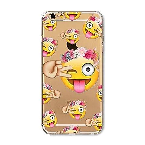 Coque transparente iphone 5 5s SE smiley fleur emoticone fun silicone