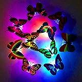 German Trendseller® - 6 x papillons avec led éclairage┃ led décoration┃ambiance ┃changement de couleurs┃ surface adhérent