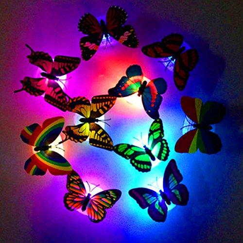 - 6 x Schmetterlinge inkl. Beleuchtung ┃ LED Dekoration ┃ Ambiente ┃ Farbwechsel ┃ 6 Stück ()