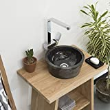 wohnfreuden Marmor Waschbecken 30 cm schwarz  rund poliert  Steinwaschbecken oder Natursteinwaschbecken für Bad Gäste WC  inkl. techn. Zeichnung  schnell