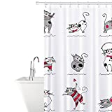 Tatkraft Funny Cats Duschvorhang 180X180 cm Textil Wasserabweisendes mit 12 Duschvorhangringen 100% Polyester