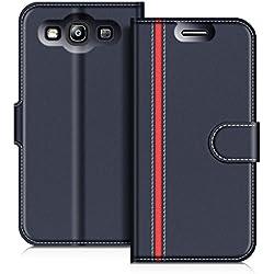 COODIO Coque en Cuir Samsung Galaxy S3, Étui Téléphone Samsung S3, Housse Pochette Galaxy S3 Fonction Stand Etui Coque pour Samsung Galaxy S3 / S3 Neo, Bleu Foncé/Rouge
