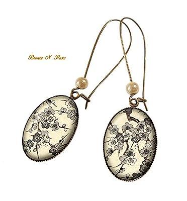 Boucles d'oreilles * Fleurs de pommier * cabochon bronze marron rétro beige perles verre