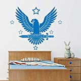 Neymar Night Bird Decal Eagle Diy Viryl Etiqueta de La Pared Estrellas Shine Sword Kids Dormitorio Arte Mural A Prueba de agua Decoración para el hogar58 x 69 cm