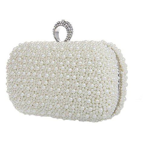 Borsa Delle Signore Handmade Bead Telefono Mobile Evening Party Cosmetics White