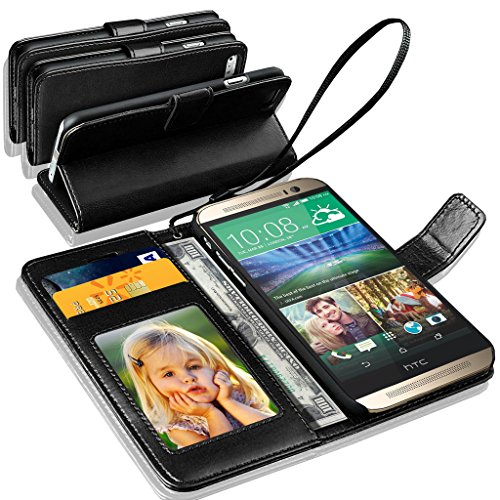 HTC ONE M8 - GBOS® Genuine real reich Leder-Standplatz-Mappen-Schlag-Fall-Abdeckung / Qualitätsbeleg Pouch / Soft-Telefon-Beutel (speziell gefertigten - Premium Qualität) Antique Ledertasche ( Black )