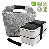 BOQUN All-in-One Stackable Kitchen Premium Bento Lunch/Bento Box (White)