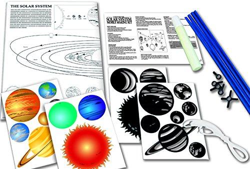 SOLAR SYSTEM MOBILE - BAUSATZ - Planeten und die Sonne glüht im Dunkeln - tolle Größe und Dekoration für Dein Kinderzimmer (22 cm x 17 cm)
