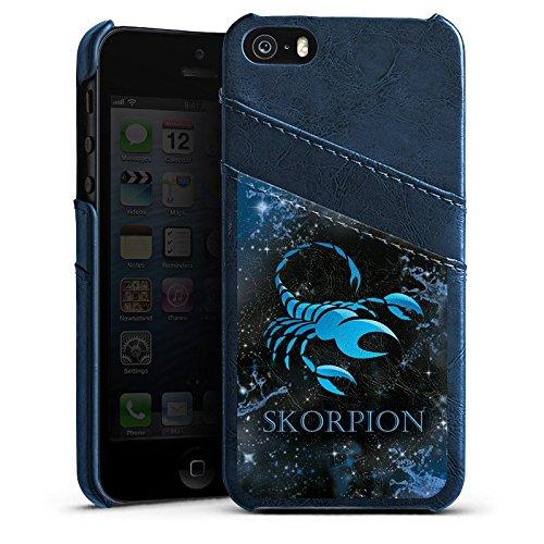 Apple iPhone 5s Housse Étui Protection Coque Signes du zodiaque Scorpion Scorpion Étui en cuir bleu marine