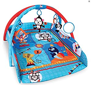 Large 110 x 110cm Light & Musical 4 in 1 Baby Activity Toy Play Mat Playmat Gym BLUE CIRCUS