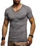 Leif Nelson Herren Sommer T-Shirt V-Ausschnitt Slim Fit Baumwolle-Anteil Moderner Männer T-Shirt V-Neck Hoodie-Sweatshirt Kurzarm lang LN1355 Anthrazit XX-Large