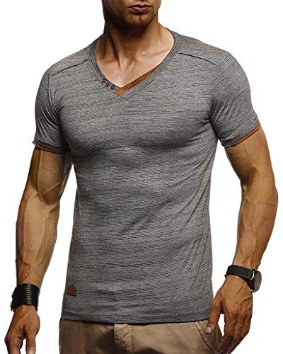 LEIF NELSON Herren Sommer T-Shirt V-Ausschnitt Slim Fit Baumwolle-Anteil | Moderner Männer T-Shirt V-Neck Hoodie-Sweatshirt Kurzarm lang | LN1355 Anthrazit X-Large -