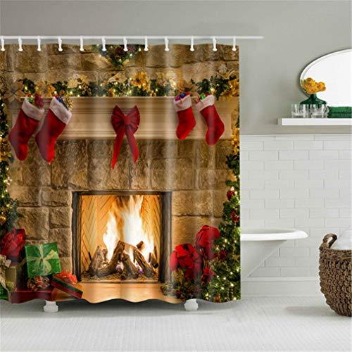 YUSAHI Natale Shower Curtains Home Documentazione Cortina De Ducha Christmas Gift Red Ocks Camino Cortina per Bagno