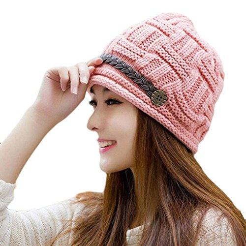 Tefamore Sombrero de las Mujeres Invierno de Caliente Gorro de Suave de Moda de elegante de Esquiar (Tamaño: 54-60cm / 21.1-23.4 ', Rosado)