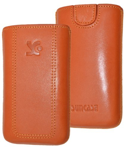 Original Suncase Tasche für / Emporia PURE / Leder Etui Handytasche Ledertasche Schutzhülle Case Hülle - Lasche mit Rückzugfunktion* in orange