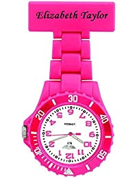 PERSONALIZED PRINCE NY LONDON WHITE SILICONE RUBBER PLASTIC NURSE FOB WATCH NURSE BROOCH IN PINK COLOUR