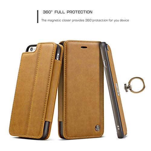 EKINHUI CaseMe Wallet Case mit abnehmbarem Slim Soft Back Case, CaseMe H Serie, Metall Leder, Vollschutz, Finger Ring Halter, Touchable Screen Leder Tasche für iPhone 7 iPhone 8 ( Color : Red ) Yellow