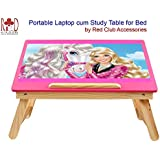 RedClub- Premium BARBIE Laptop Cum Study Folding Table (Kids Table) With Adjustable Table Top- PInk Colour, With RedClub Pen