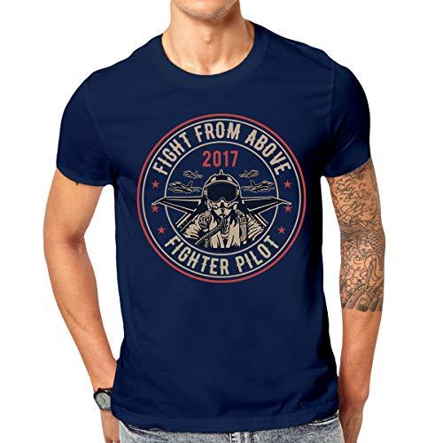 Bedrucktes T-Shirt Fighter Pilot Herren Shirt mit coolem Retro Motiv (L)